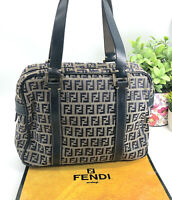 Fendi Authentic Vintage 90s Canvas FF Logo Bag Shoulder Tote Leather Satchel