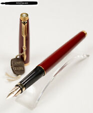 Rare Parker 75 Fountain Pen in Burgundy / Bordeaux Red Laque - Gold 14 K B-nib
