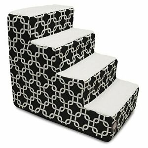 4 Step Portable Pet Stairs By Majestic Pet Products Black Links Steps for Cat...