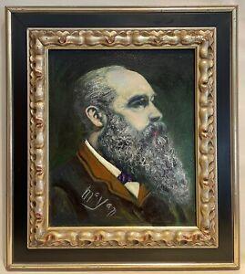 Original painting by Earl Mayan, Portrait of Claude Monet, 1979