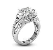 ring 925 silver Wedding Engagement Heart cut vintage lotus inspired skull