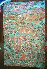 Pottery Barn Pillow Sham King paisley blue orange taupe Organic cotton