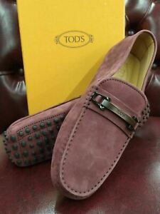 Tod's Men's MORSETTO Purple Suede Moccasins Loafers (6 UK / 7 US)