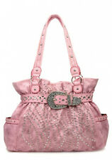 Pink Western Rhinestone Celebrity  Leather-Like Crown Buckle Handbag Tote NR