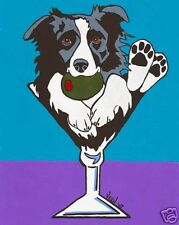 BORDER COLLIE MARTINI Dog Art PRINT of Painting by VERN
