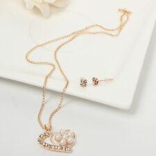 Halskette mit Anhänger und Ohrringen Strass Perlen Herz