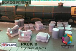 Model Railway Diorama Scenery PACK B - 16 items OO Gauge Wagon Loads / Scenery