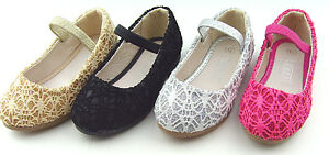 Infant Toddler Baby Girls Glitter Mary Jane Ankle Strap Flats  Party Dress Shoes