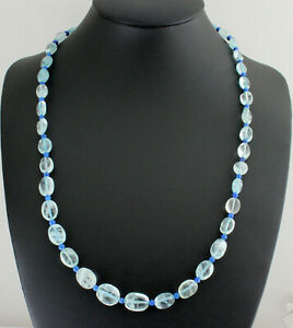Aquamarine And Lapis Necklace Precious Stone Blue Oval Gift Approx. 50 CM