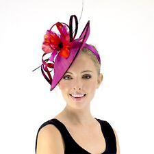 JENDI Pink Red Black Ladies Formal Spring Racing Fascinator Headband Oaks Day