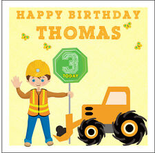 DIGGER / TRACTOR / WORKER PERSONALISED BIRTHDAY CARD - JCB - TRUCK
