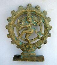 Antique Rare Solid Heavy Cast Brass Hindu God Shiva Dancing Natraj Figure Statue