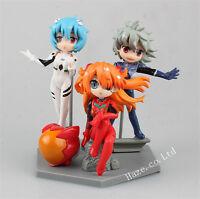 3pcs/set Neon Genesis Evangelion Asuka Langley Rei Ayanami Nagisa Figure Toy
