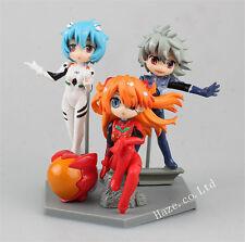 Neon Genesis Evangelion Asuka Langley Rei Ayanami Nagisa Figure Toy 8-11cm 3pcs