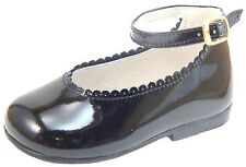 DE OSU A-302 - Baby Girls' Euro Black Patent Leather Dress Shoes - Size 3 Size 4