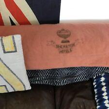 vintage rare wool Sheraton hotel monogram logo blanket collectible pink rose