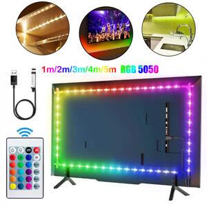 LED Strip Lights USB 5050 RGB 1M-5M TV Back Light Under Cabinet Kitchen Lighting