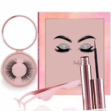 Brand New Reusable Magnetic eyelashes kit with Liquid eyeliner And mirror