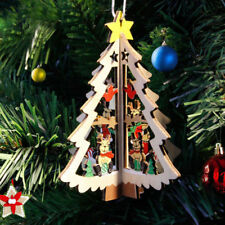 1Pc 3D Christmas Tree Pendants Wooden DIY Wedding Birthday Party Home Decor