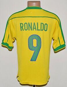 BRAZIL 1998/1999/2000 HOME FOOTBALL SHIRT JERSEY NIKE RONALDO #9 SIZE S