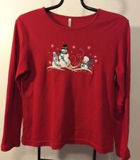 Womens White Stag Christmas Top Shirt NWOT Size M Red With Snowman 100% Cotton