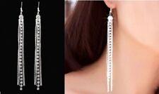 Long Drop Earrings Ear Stud Tassel Elegant Silver Dangle Crystal Party Dangle UK