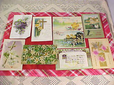 Lot of 9 Vintage Post Cards Easter Greetings Some with Stamps and Messages 1900s