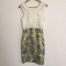 Anthropologie Moulinette Soeurs Ruffled Gold Foil Dress size 4 womens small S