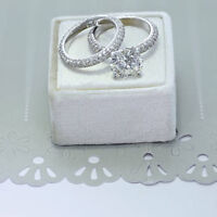 14K Real White Gold Wedding Band Sets 2.44 Ct VVS1 Round Diamond Engagement Ring