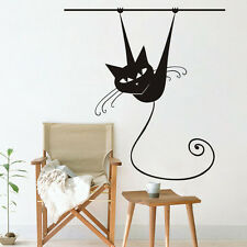 Funny Siamese Cat On Branch Vinyl  Wall Sticker Animal Art  Removable Decal