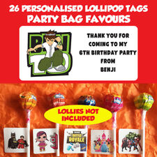 26 Personalised Ben 10 Lollipop Stick Birthday Party Favour Stickers