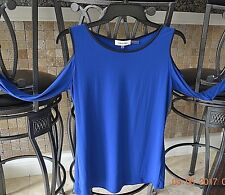 CALVIN KLEIN- BLUE OPEN SHOULDER TOP WITH BLACK TRIM- SZ SMALL- NWT- MSRP $60