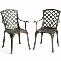 Outdoor Cast Aluminum Arm Dining Chairs Set of 2 Patio Bistro Chairs