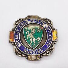 More details for antique silver bromley area health authority enamel nursing medic nurse badge