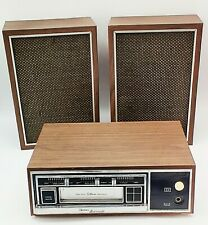 Vtg Boman Astrosonix Home Amp Car Stereo 8 Track Tape Player With Speakers Wood Case