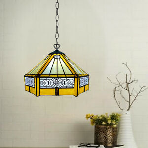 """Tiffany Style Pendant Lamps Yellow Hexagon Shade 10"""" Stained Glass Decoration"""