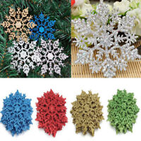 BA_ 12 PCS SNOWFLAKE SHAPE ORNAMENTS HOME DIY CHRISTMAS TREE HANGING DECORATION