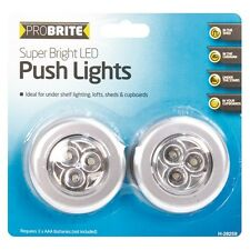 2 X LED Touch Night Light Room Cabinet Car Push Stick On Battery Powered Lamp DW