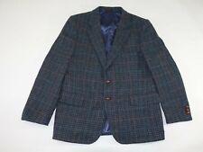 English Manor Men's Tweed Houndstooth Sport Coat Size 41 Short Gray Blue Wool S