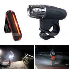 USB Rechargeable Safty LED Bicycle Bright Bike Front Headlight Lamp + Tail Light