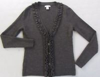 Tweeds Women's Italian Merino Wool L/S Gray Ruffled Button Cardigan Sweater - S