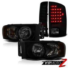 For 03-05 Dodge Ram Pickup Dark Smoke Tinted Headlight Brightest LED Tail Lamp