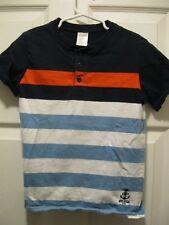 Euc Gymboree Size 6 Black, Orange, White & Blue 100% cotton henley shortsleeve