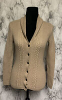 346 Brooks Brothers Size M 100% Merino Wool Camel Colored Cable Knit Cardigan