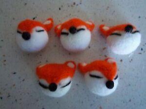 Sweet 3X 5 Handmade Felted Fox Heads Embellishment Decor Toy 1.5""