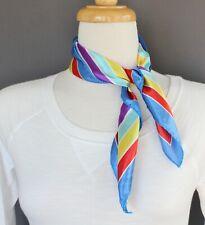 Rainbow stripe scarf Satin silky square neck hair headband kerchief red yellow