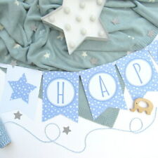 Personalised Blue Star Bunting. Boys Nursery Decor, Baby Shower, Christening, 1s