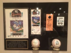1993 Florida Marlins Inaugural Year Baseball Authentic Opening Day Collage; Mint