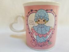 Precious Moments Pink Purple Hearts Coffee Mug Tea Cup Heart Shaped Handle 1996