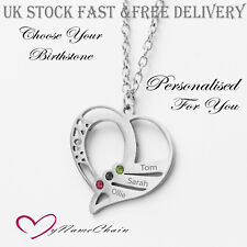 Personalised Heart Birthstone Necklace Any Names Engraved Silver Jewellery Gift
